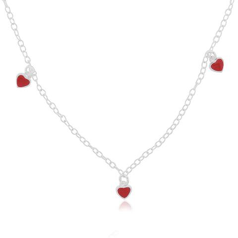 Mondevio Sterling Silver Enamel Hearts Children's Necklace