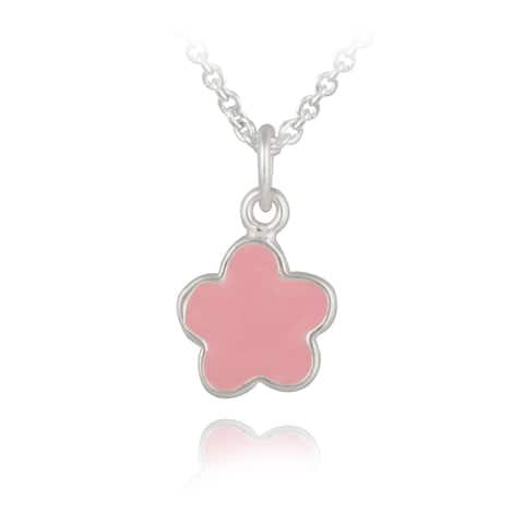 Mondevio Sterling Silver Enamel Flower Children's Necklace