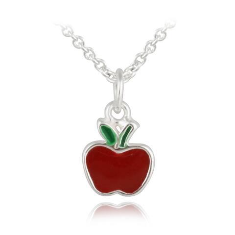 Mondevio Sterling Silver Enamel Apple Children's Necklace