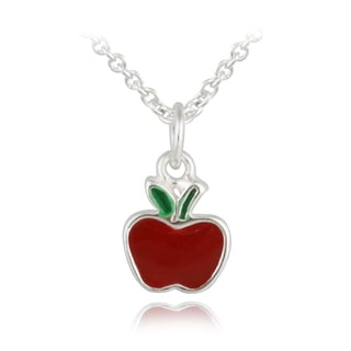 Mondevio Sterling Silver Enamel Apple Children's Necklace