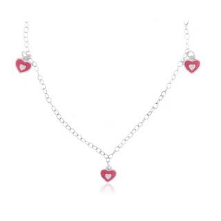 Mondevio Sterling Silver Enamel Hearts Children's Necklace