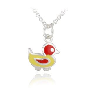 Mondevio Sterling Silver Enamel Duck Children's Necklace