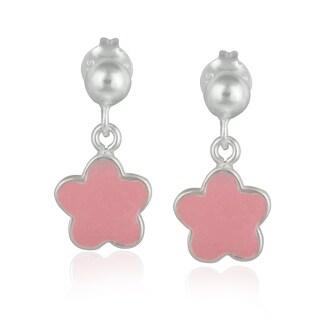 Mondevio Sterling Silver Dangling Enamel Flower Children's Earrings