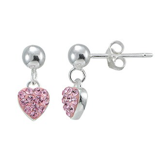 Mondevio Sterling Silver Pink Crystal Heart Dangling Children's Earrings