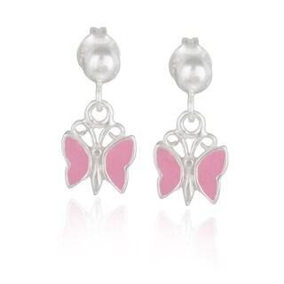 Mondevio Sterling Silver Dangling Enamel Butterfly Children's Earrings