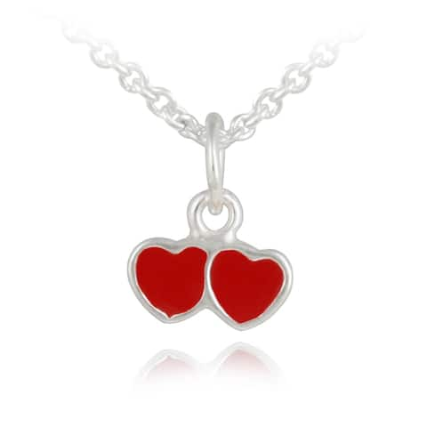Mondevio Sterling Silver Double Enamel Heart Children's Necklace