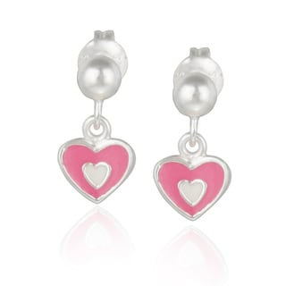 Mondevio Sterling Silver Dangling Enamel Heart Children's Earrings