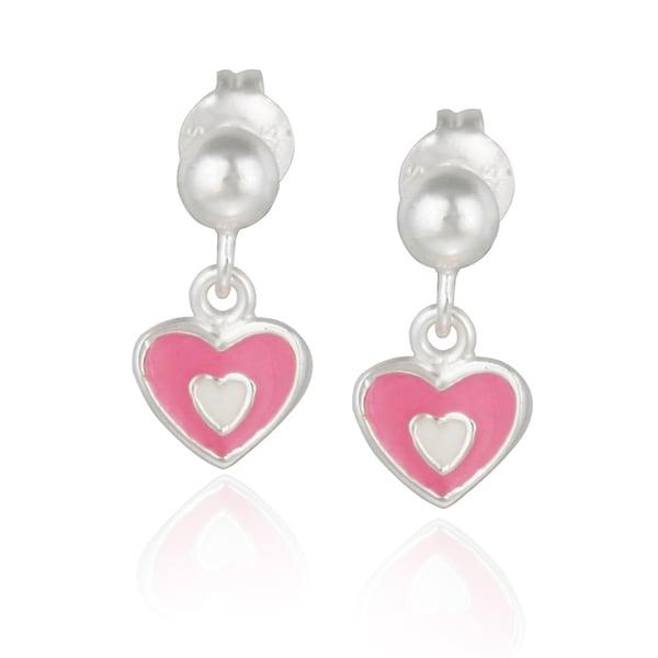 Mondevio Sterling Silver Dangling Enamel Heart Children's Earrings