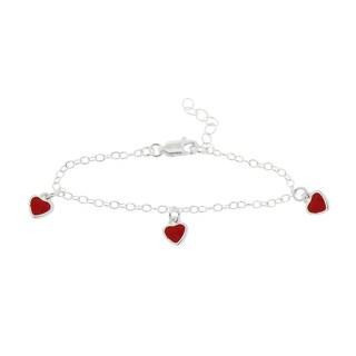 Mondevio Sterling Silver Enamel Hearts Children's Bracelet