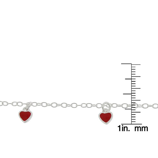 Sterling Silver Enamel Red Heart Childs Bracelet