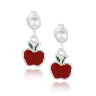 Mondevio Sterling Silver Dangling Enamel Apple Children's Earrings