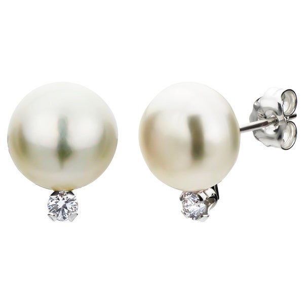 DaVonna Sterling Silver White Pearl and Diamond Stud Earrings (G-H, SI1-SI2) (8-9 mm)