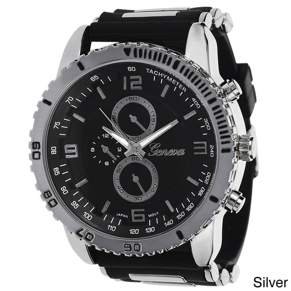 Geneva Platinum Men's Silicone Strap Japanese Quartz Watch