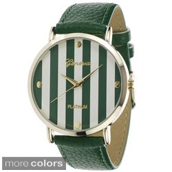 Geneva Platinum Women's Faux Leather Printed Face Strap Watch