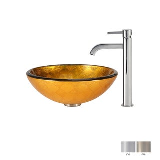 KRAUS Orion Glass Vessel Sink in Gold with Ramus Faucet in Chrome