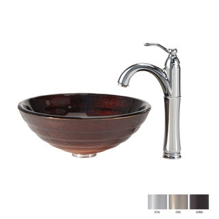KRAUS Iris Glass Vessel Sink in Brown with Riviera Faucet in Oil Rubbed Bronze