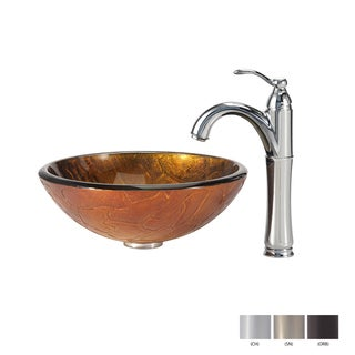 KRAUS Triton Glass Vessel Sink in Gold with Riviera Faucet in Chrome