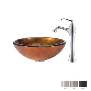 KRAUS Triton Glass Vessel Sink in Gold with Ventus Faucet in Oil Rubbed Bronze