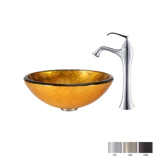 KRAUS Orion Glass Vessel Sink in Gold with Ventus Faucet in Oil Rubbed Bronze