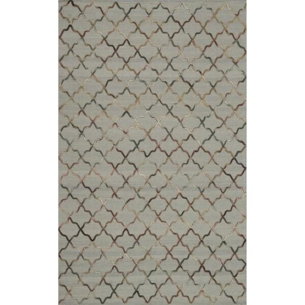 Hand-tufted Echo Beige Wool Rug (7'6 x 9'6)