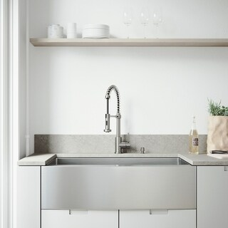 VIGO Bedford Stainless Steel Kitchen Sink Set and Edison Faucet