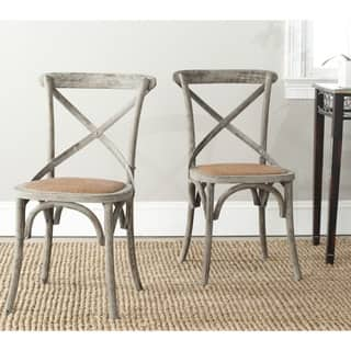 Safavieh Country Classic Dining Franklin X-back Distressed Colonial Grey Oak Chairs (Set of 2)|https://ak1.ostkcdn.com/images/products/8306882/Safavieh-Franklin-X-back-Distressed-Colonial-Grey-Oak-Chairs-Set-of-2-P15623202.jpg?impolicy=medium