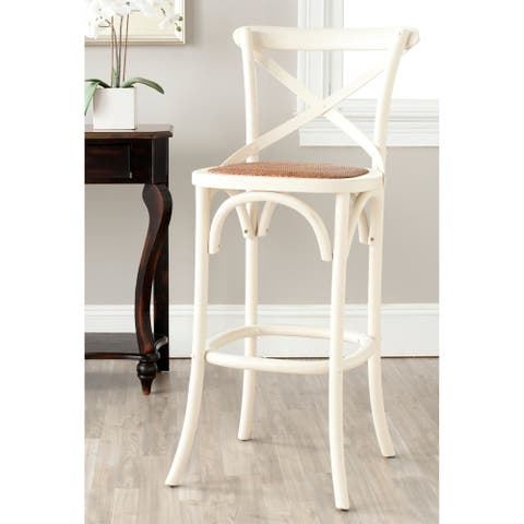 Safavieh 30-inch Franklin X-Back Antique White Bar Stool