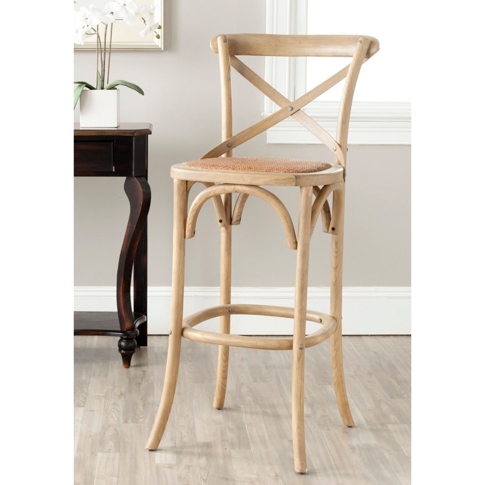 Strange Safavieh 30 7 Inch Franklin Weathered Oak Bar Stool 20 1 X 20 1 X 43 7 Squirreltailoven Fun Painted Chair Ideas Images Squirreltailovenorg
