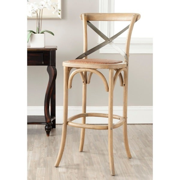 Shop Safavieh 30 7 Inch Eleanor Weathered Oak Bar Stool