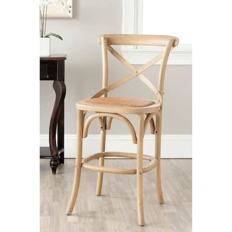 Safavieh 24-inch Franklin X-Back Weathered Oak Counter Stool