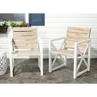 Safavieh Irina White Frame/ Oak Seat Arm Chairs (Set of 2)