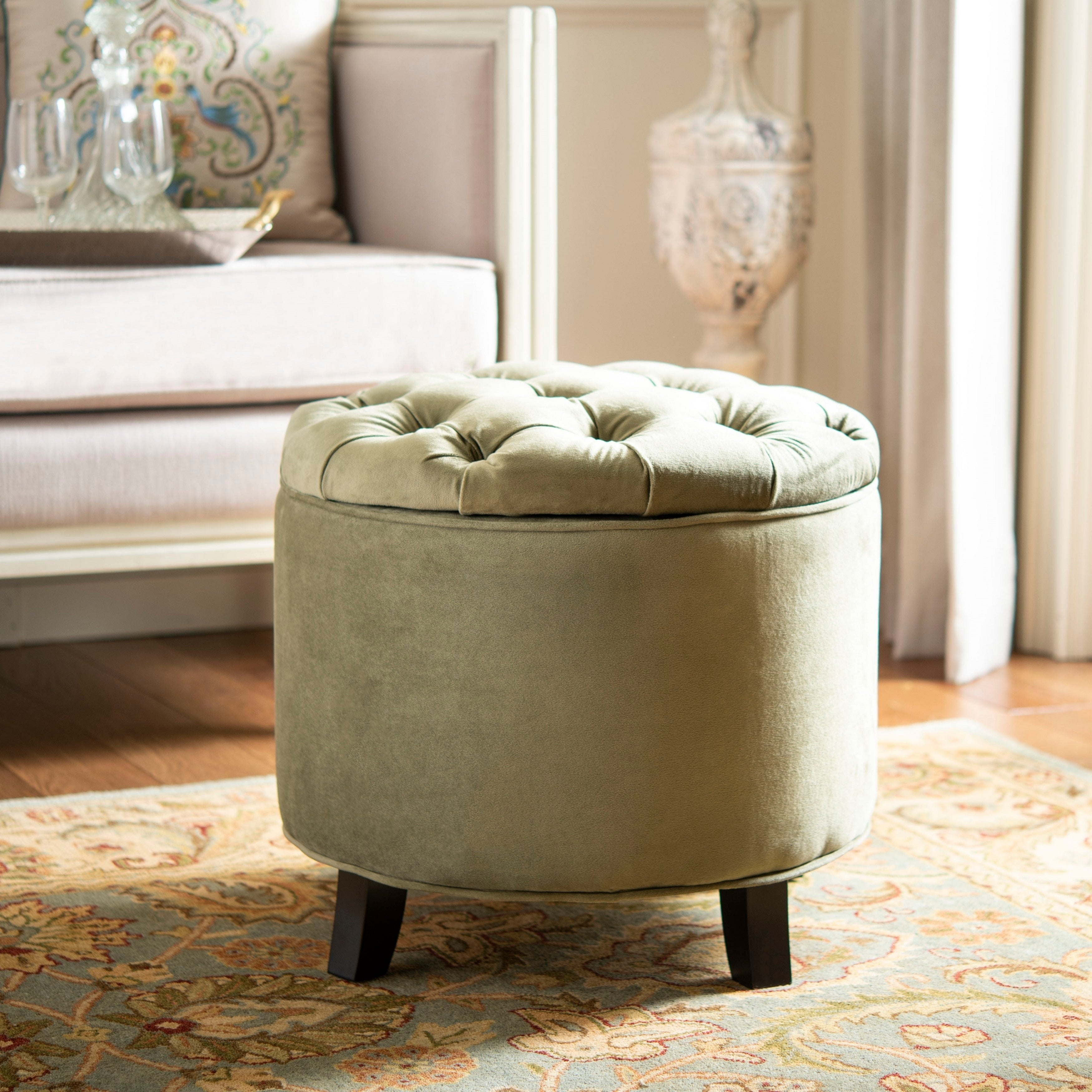 Prime Safavieh Amelia Spruce Tufted Storage Ottoman Gmtry Best Dining Table And Chair Ideas Images Gmtryco