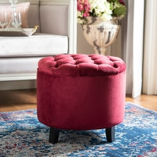 Safavieh Amelia Red Velvet Tufted Storage Ottoman