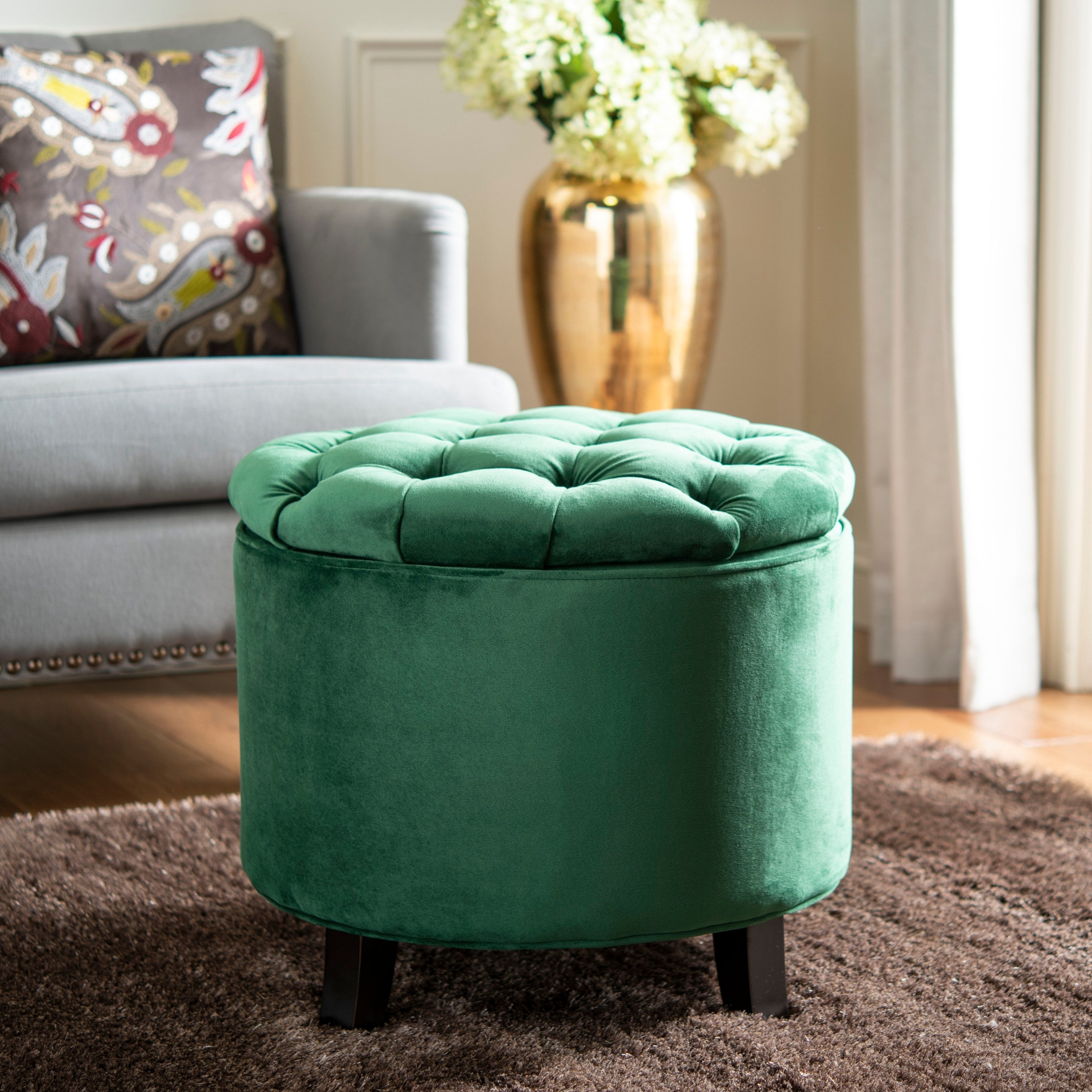 Pleasing Safavieh Amelia Emerald Tufted Storage Ottoman Gmtry Best Dining Table And Chair Ideas Images Gmtryco