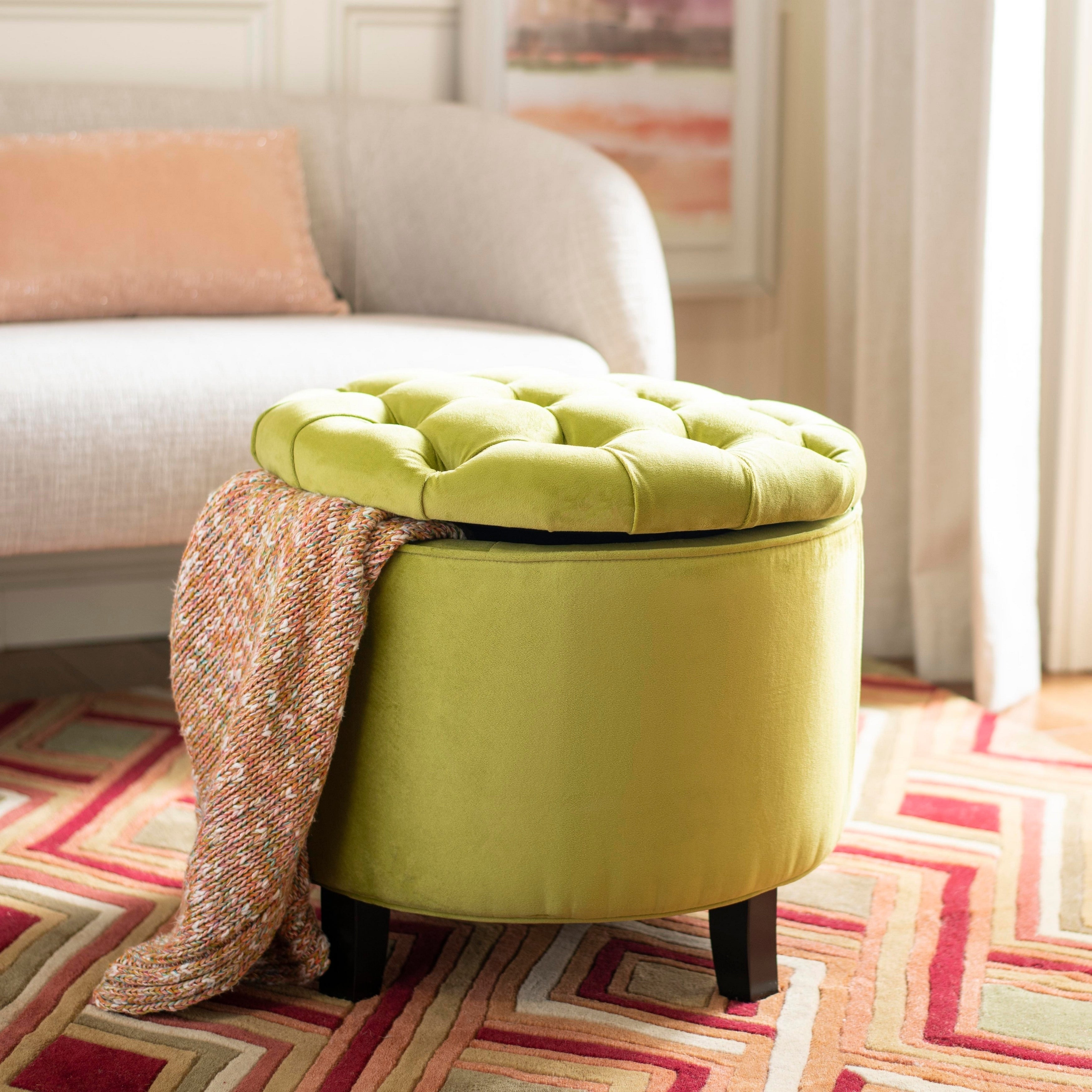 Admirable Safavieh Amelia Asparagus Tufted Storage Ottoman Gmtry Best Dining Table And Chair Ideas Images Gmtryco