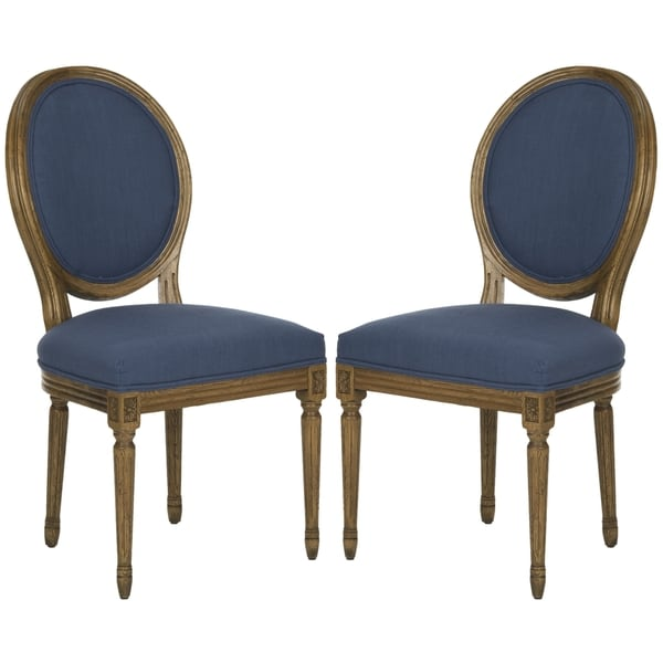 Safavieh Old World Dining Paris Oak/ Navy Oval Oak Side Chairs (Set of 2)