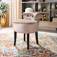 "Safavieh Georgia Mink Brown Vanity Stool - 17.9"" x 19"" x 22.8"""