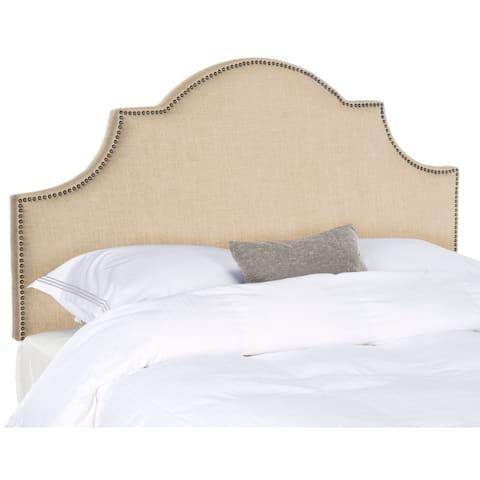 Safavieh Hallmar Hemp Linen Upholstered Arched Headboard - Brass Nailhead (Full)
