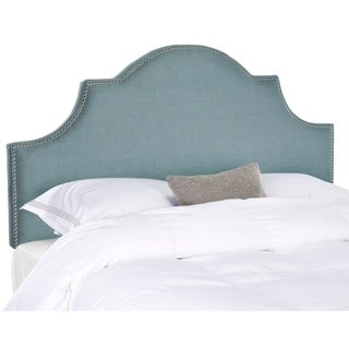 Safavieh Hallmar Sky Blue Upholstered Arched Headboard - Silver Nailhead (Full)