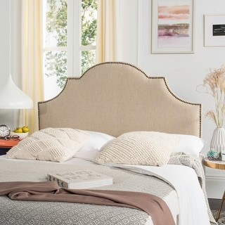 Safavieh Hallmar Hemp Linen Upholstered Arched Headboard - Brass Nailhead (Queen)