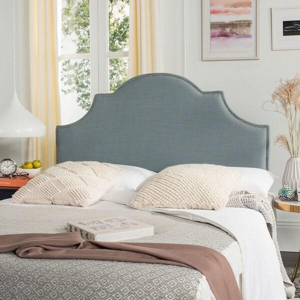 Safavieh Hallmar Sky Blue Upholstered Arched Headboard - Silver Nailhead (Queen)