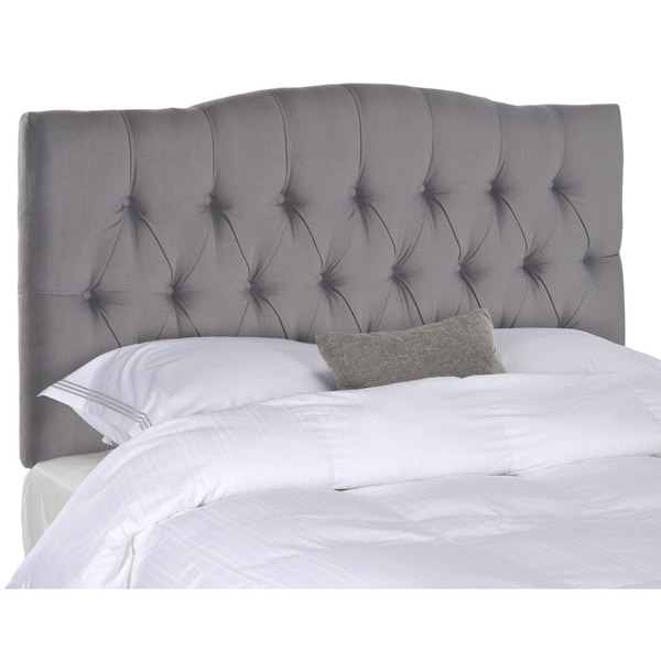 shop safavieh axel arctic grey upholstered tufted headboard queen on sale free shipping. Black Bedroom Furniture Sets. Home Design Ideas