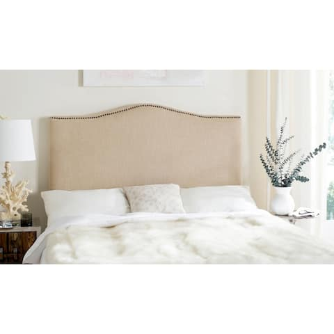 Safavieh Jeneve Hemp Linen Upholstered Camelback Headboard - Brass Nailhead (Queen)