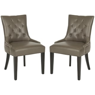 Safavieh Abby Clay Leather Side Chairs (Set of 2)