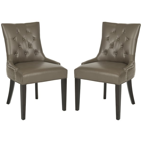 Safavieh Abby Clay Leather Dining Chairs (Set of 2)