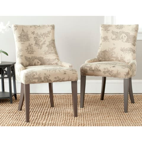 "SAFAVIEH Dining Lester Taupe Print Dining Chairs (Set of 2) - 22""x24.8""x36.4"""