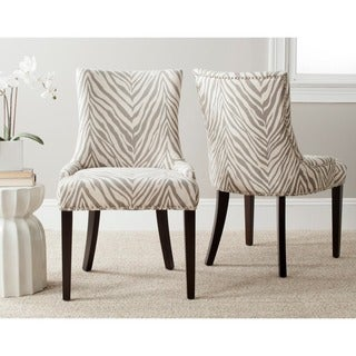 Safavieh En Vogue Dining Lester Grey Zebra Side Chairs (Set of 2)