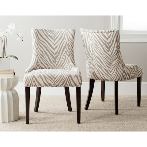 "SAFAVIEH Dining Lester Grey Zebra Dining Chairs (Set of 2) - 22"" x 24.8"" x 36.4"""