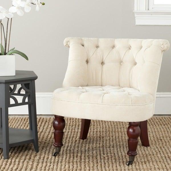 Safavieh En Vogue Carlin Natural Cream Tufted Chair