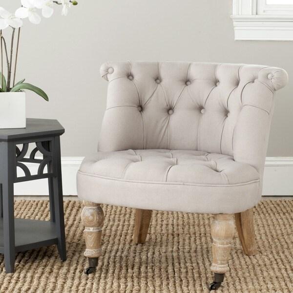 Shop Safavieh En Vogue Carlin Taupe Tufted Chair Free